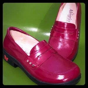 """Alegria """"Taylor"""" Red Leather Loafers"""